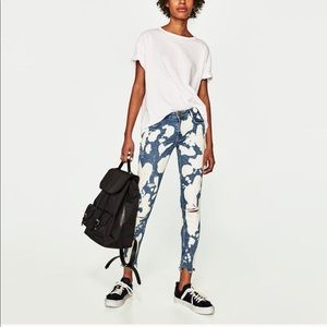 Zara Trafaluc Bleached Distressed Frayed Jeans 6